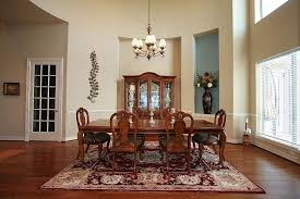 Traditional Dining Room With French Doors  Window Blinds In - Dining room with french doors