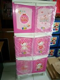 Lemari Plastik Kediri jual lemari plastik kingstar susun 3 motif boneka safira fashion