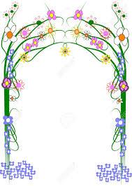 garden trellis with variety of flowers on white stock photo