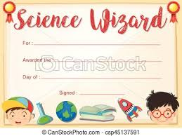 certificate template for science wizard illustration eps vectors