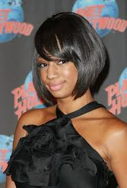 show me hair styles for short hair black woemen over 50 short black sleek bob hairstyle with bangs for african american