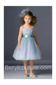 a line light sky blue tulle beaded little girls party dress sash