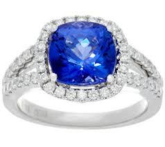 diamond tanzanite rings images Cushion cut tanzanite diamond ring 14k gold 3 00 cts page 1 001