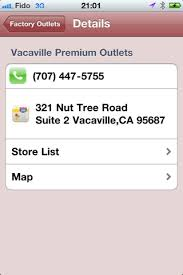 vacaville outlets map outlet wizard iphone application