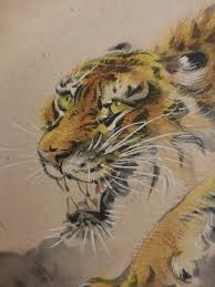 vintage japanese tiger painting signed sealed suizan 翠山 ink