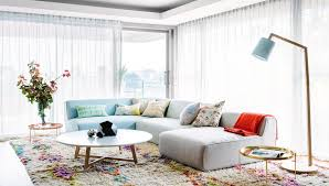 bright modern style in perth this peaceful home pastel living room