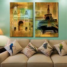 online get cheap oil paintings france aliexpress com alibaba group drop shipping unframed 2 panels home decor modular pictures france high tower home canvas wall art