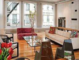 Industrial Look Living Room by Living Room Industrial Style Living Room With Vibrant Sofa Also