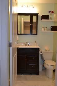 small white quartz top dark wooden bathroom vanity narrow antique