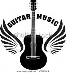 musical emblem wings caption guitar stock vector 476627626
