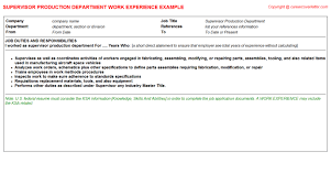 supervisor production department cv work experience