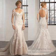 fishtail wedding dress sweetheart open back sleeve robe de