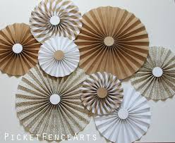 white paper fans kraft brown and white paper rosettes paper fans backdrop brown