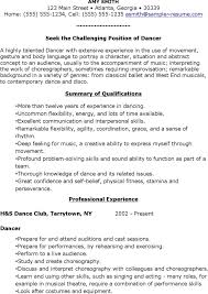 Ballet Resume Sample by Dance Resume Formatdance Resume Dance Resume Template Sample