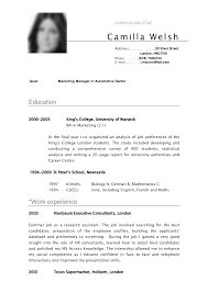 exles of resumes for students cv sle curriculum vitae camilla resume