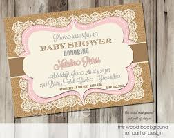 vintage baby shower invitations pink brown vintage lace burlap baby shower invitation 5x7