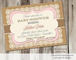 pink brown vintage lace burlap baby shower invitation 5x7
