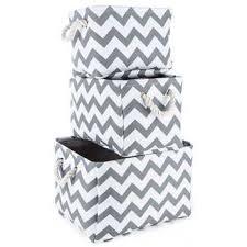 Hobby Lobby Light Box Gray U0026 White Chevron Canvas Storage Basket Set Hobby Lobby 464586
