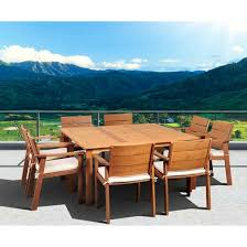 Outdoor Dining Room Furniture Saint Paul 9 Piece Wood Square Patio Dining Furniture Set Target