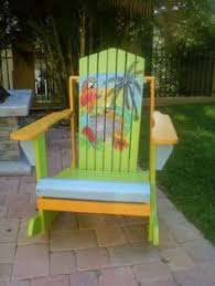 How To Paint An Adirondack Chair Adirondack Chair Yellow Tiki Bar Parrot Head Style Tropical Hand