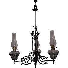 Black Metal Chandeliers Three Arm Cast Iron Chandelier Model 108 Still In Oil Circa 1868