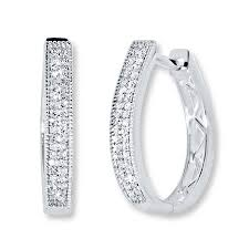 jared jewelers jared diamond hoop earrings 1 4 ct tw round cut sterling silver