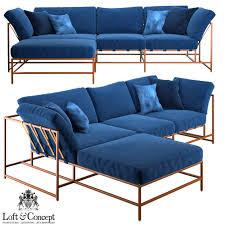Corner Sofa Corner Sofa Indigo Denim And Copper Sectional 3d Model Max Obj Fbx Mtl