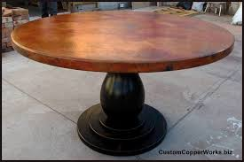 Dining Room Stylish Round Copper Table Wood Pedestal Base   Top - Copper kitchen table