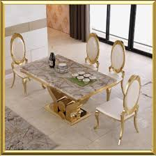 white marble dining table set china wholesale modern gold stainless steel dining room furniture