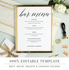 wedding bar menu template wedding bar menu template editable bar menu printable word
