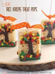 fall tree rice krispie treats thanksgiving dessert