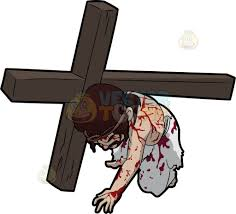 jesus falling on his knees while carrying the cross cartoon