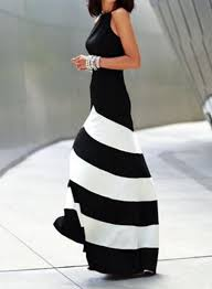 white monochrome evening sleeveless striped ankle length dress