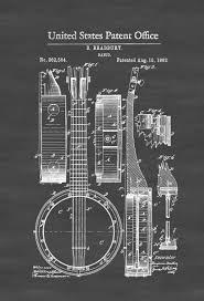 Music Decor by Banjo Patent 1882 Patent Print Wall Decor Music Poster Music