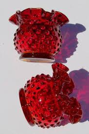Ruby Vases Ruby Red Hobnail Glass Mini Vase Set Pair Of Round Crimped Vases