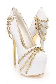 gold chain decor platform pumps amiclubwear heel shoes online