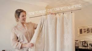 How To Hang Curtain Swags by How To Make Curtains Without Sewing In Minutes Youtube