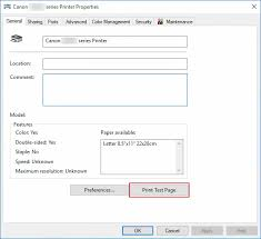 canon knowledge base printing a test page windows