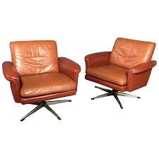 Orange Leather Swivel Chair Pair Of Scandinavian Leather And Steel Swivel Chairs Denmark