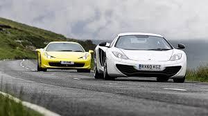mclaren vs mclaren mp4 12c vs 458 italia top gear