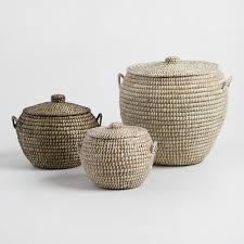 large wicker baskets with lids seagrass penelope tote baskets with lids world market