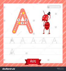 letter uppercase tracing practice worksheet ant stock vector