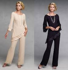 mother of the bride pant suits dresses with long sleeves chiffon