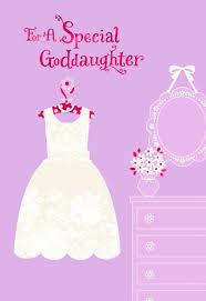 1st Holy Communion Invitation Cards Flowery White Dress First Holy Communion Card For Goddaughter