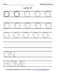 handwriting practice letter o pre k 2nd grade worksheet
