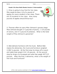 5th grade math word problems worksheet worksheets