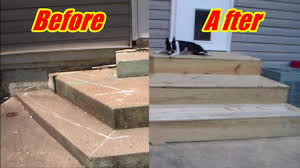 Covering Old Concrete Patio by Deck Steps Over Crooked Concrete Youtube