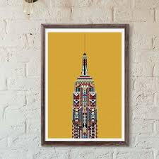 multicolour empire state building yellow great print store