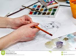 hands of an artist working with pencil sketch stock illustration
