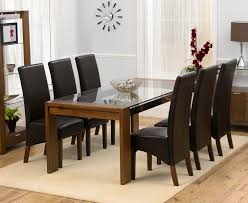 Glass Dining Table For 6 Arturo Rectangle Walnut Glass Top Dining Table And 8 Wng Chairs